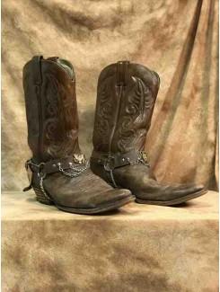 Botte cowboy brune avec chaine
