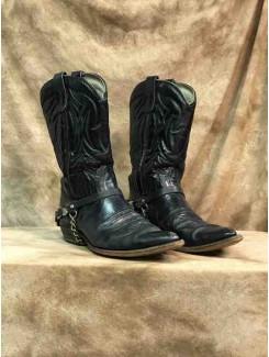 Botte cowboy noire avec chaine