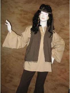 Hippie brun rayé homme