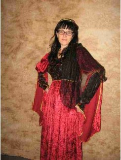 Robe médiévale velours rouge