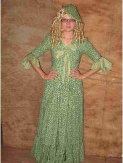 Robe 1900 fleurie verte