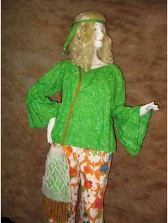 Hippie vert fleur orange