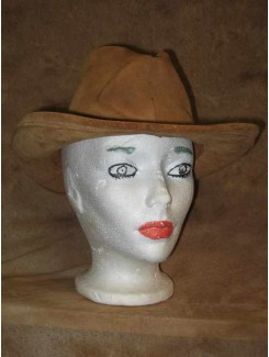 Chapeau Cowboy beige tissu suède