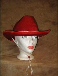 Chapeau Cowboy velours rouge