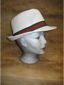 Chapeau Blanc bande verte