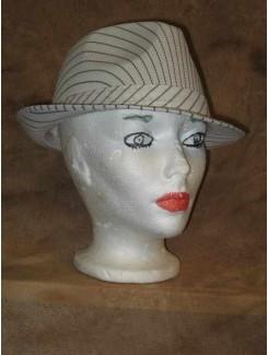 Chapeau Gangster rayé blanc