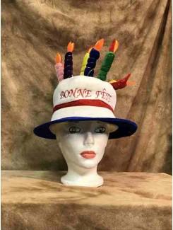 Chapeau Bonne fête bleu royal
