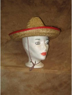 Chapeau Mexicain paille rouge