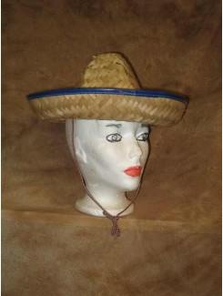 Chapeau Mexicain paille bleu