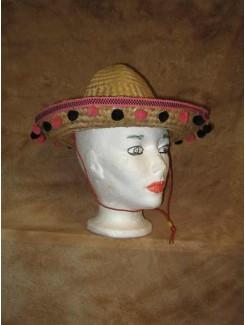 Chapeau Mexicain paille pompon rose