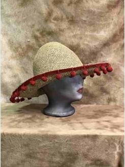 Chapeau Mexicain paille pompon rouge