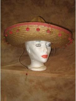 Chapeau Mexicain paille pompon rose/beige