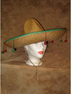 Chapeau Mexicain paille à pompons verts et rouges
