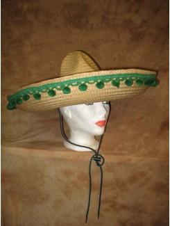 Chapeau Mexicain paille à pompons verts