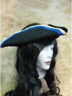 Tricorne feutre noir garniture bleue