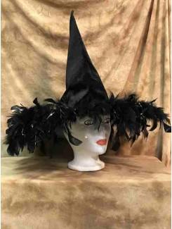 Chapeau Sorcière noire à plume