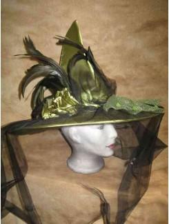 Chapeau Sorcière vert satin