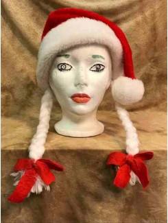 Tuque Noël rouge à tresses