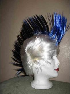 Perruque Punk blanc et bleu
