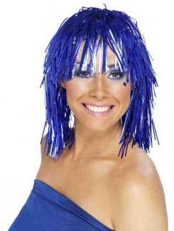 Perruque métalique bleu