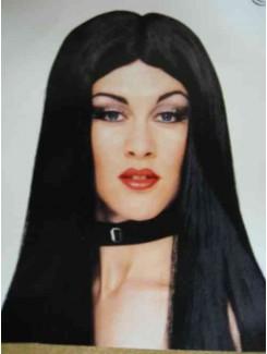 Perruque noire longue