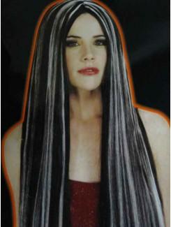Perruque Noire/Blanche très longue