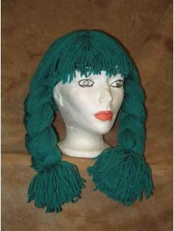 Perruque Poupée laine vert
